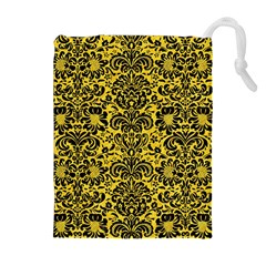 Damask2 Black Marble & Yellow Colored Pencil Drawstring Pouches (extra Large)