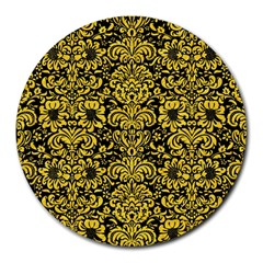 Damask2 Black Marble & Yellow Colored Pencil (r) Round Mousepads