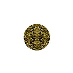 Damask2 Black Marble & Yellow Colored Pencil (r) 1  Mini Buttons