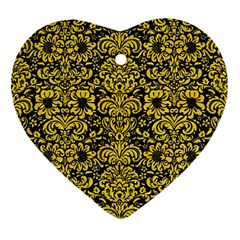 Damask2 Black Marble & Yellow Colored Pencil (r) Ornament (heart)