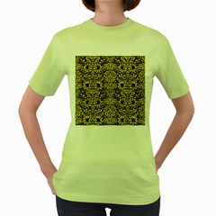Damask2 Black Marble & Yellow Colored Pencil (r) Women s Green T Shirt