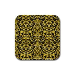 Damask2 Black Marble & Yellow Colored Pencil (r) Rubber Coaster (square)