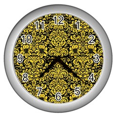 Damask2 Black Marble & Yellow Colored Pencil (r) Wall Clocks (silver)