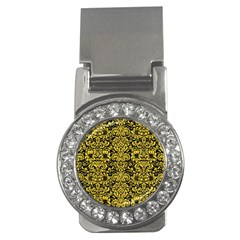 Damask2 Black Marble & Yellow Colored Pencil (r) Money Clips (cz)