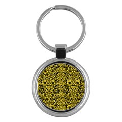 Damask2 Black Marble & Yellow Colored Pencil (r) Key Chains (round)
