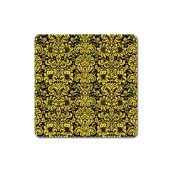 Damask2 Black Marble & Yellow Colored Pencil (r) Square Magnet