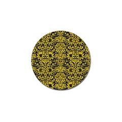 Damask2 Black Marble & Yellow Colored Pencil (r) Golf Ball Marker