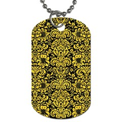 Damask2 Black Marble & Yellow Colored Pencil (r) Dog Tag (two Sides)