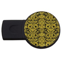Damask2 Black Marble & Yellow Colored Pencil (r) Usb Flash Drive Round (2 Gb)