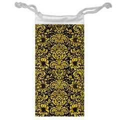 Damask2 Black Marble & Yellow Colored Pencil (r) Jewelry Bag