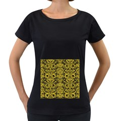 Damask2 Black Marble & Yellow Colored Pencil (r) Women s Loose Fit T Shirt (black)