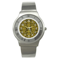 Damask2 Black Marble & Yellow Colored Pencil (r) Stainless Steel Watch