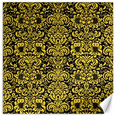 Damask2 Black Marble & Yellow Colored Pencil (r) Canvas 16  X 16