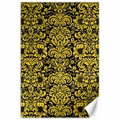Damask2 Black Marble & Yellow Colored Pencil (r) Canvas 20  X 30