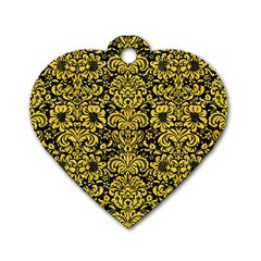 Damask2 Black Marble & Yellow Colored Pencil (r) Dog Tag Heart (one Side)