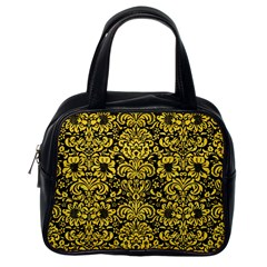Damask2 Black Marble & Yellow Colored Pencil (r) Classic Handbags (one Side)