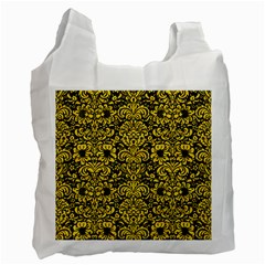 Damask2 Black Marble & Yellow Colored Pencil (r) Recycle Bag (two Side)