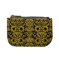 Damask2 Black Marble & Yellow Colored Pencil (r) Mini Coin Purses