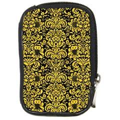 Damask2 Black Marble & Yellow Colored Pencil (r) Compact Camera Cases