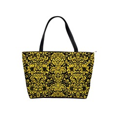 Damask2 Black Marble & Yellow Colored Pencil (r) Shoulder Handbags