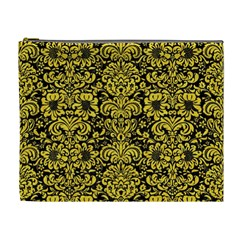 Damask2 Black Marble & Yellow Colored Pencil (r) Cosmetic Bag (xl)