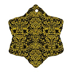 Damask2 Black Marble & Yellow Colored Pencil (r) Ornament (snowflake)