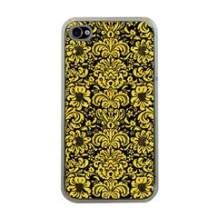 Damask2 Black Marble & Yellow Colored Pencil (r) Apple Iphone 4 Case (clear)