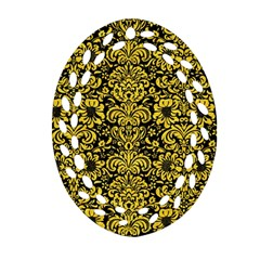 Damask2 Black Marble & Yellow Colored Pencil (r) Oval Filigree Ornament (two Sides)