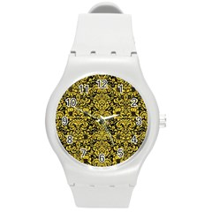 Damask2 Black Marble & Yellow Colored Pencil (r) Round Plastic Sport Watch (m)
