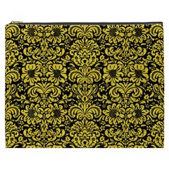 Damask2 Black Marble & Yellow Colored Pencil (r) Cosmetic Bag (xxxl)