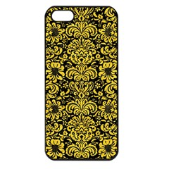 Damask2 Black Marble & Yellow Colored Pencil (r) Apple Iphone 5 Seamless Case (black)