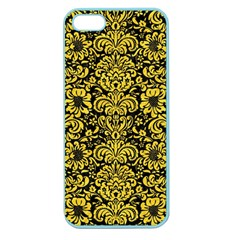 Damask2 Black Marble & Yellow Colored Pencil (r) Apple Seamless Iphone 5 Case (color)