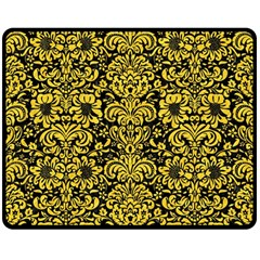 Damask2 Black Marble & Yellow Colored Pencil (r) Double Sided Fleece Blanket (medium)