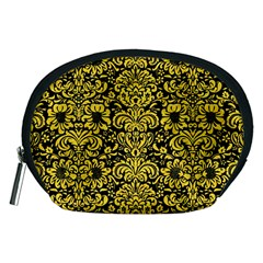 Damask2 Black Marble & Yellow Colored Pencil (r) Accessory Pouches (medium)
