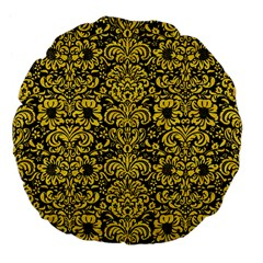 Damask2 Black Marble & Yellow Colored Pencil (r) Large 18  Premium Flano Round Cushions