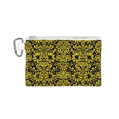 Damask2 Black Marble & Yellow Colored Pencil (r) Canvas Cosmetic Bag (s)
