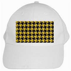 Houndstooth1 Black Marble & Yellow Colored Pencil White Cap
