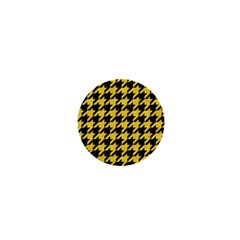Houndstooth1 Black Marble & Yellow Colored Pencil 1  Mini Magnets