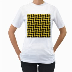 Houndstooth1 Black Marble & Yellow Colored Pencil Women s T Shirt (white) (two Sided)