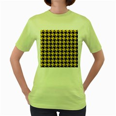 Houndstooth1 Black Marble & Yellow Colored Pencil Women s Green T Shirt