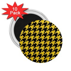 Houndstooth1 Black Marble & Yellow Colored Pencil 2 25  Magnets (10 Pack)
