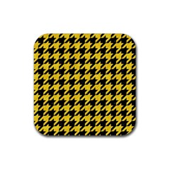 Houndstooth1 Black Marble & Yellow Colored Pencil Rubber Square Coaster (4 Pack)