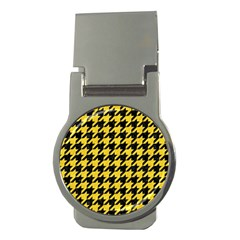 Houndstooth1 Black Marble & Yellow Colored Pencil Money Clips (round)
