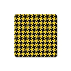 Houndstooth1 Black Marble & Yellow Colored Pencil Square Magnet
