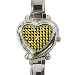 Houndstooth1 Black Marble & Yellow Colored Pencil Heart Italian Charm Watch