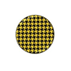Houndstooth1 Black Marble & Yellow Colored Pencil Hat Clip Ball Marker (4 Pack)