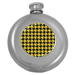 Houndstooth1 Black Marble & Yellow Colored Pencil Round Hip Flask (5 Oz)