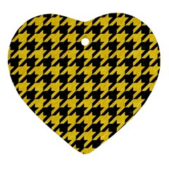 Houndstooth1 Black Marble & Yellow Colored Pencil Heart Ornament (two Sides)