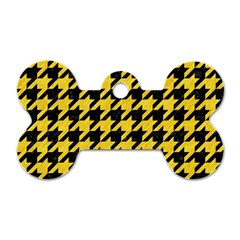 Houndstooth1 Black Marble & Yellow Colored Pencil Dog Tag Bone (one Side)