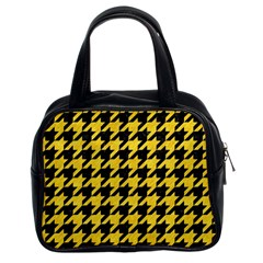 Houndstooth1 Black Marble & Yellow Colored Pencil Classic Handbags (2 Sides)
